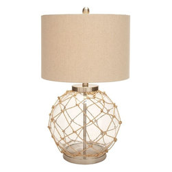 Benzara - Beautiful Glass Metal Table Lamp with Space Efficient - Magnificent in looks, this glass metal table lamp enhances your contemporary decor. This attractively designed table lamp features a beige colored lamp shade with a metal lamp stand and base. This decorative accessory is perfect for your youthful bedroom. It flaunts a feminine charm, and allure to prep your personal space with panache. The lamp stand features a knotted golden net that enhances the overall design. You can place this table lamp in the bedroom or stow it in the living room to accent the architectural beauty of your set up. The table lamp is made of metal and ensures high durability. It is also equipped with quality electrical fittings. The table lamp also acts as a perfect gifting option for anyone who loves to indulge in interior decoration. Sturdy in make, this lamp will serve you for years..