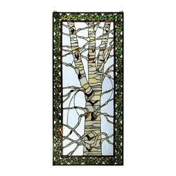 Meyda Tiffany - Meyda Tiffany 30620 Birch Tree in Winter Tiffany Window - A bare branched Tan and White Birch tree is framed with Bronzed Green leaves bordered in Bark Brown against an icy Clear glass sky. This Meyda Tiffany Original window will bring the charm of the North Woods into your home. The window is framed in solid brass and has brass mounting bracket and chains included.