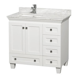 "Wyndham Collection - 36"" Acclaim Single Vanity w/ White Carrera Marble Top, Square Sink, No Mirror - Sublimely linking traditional and modern design aesthetics, and part of the exclusive Wyndham Collection Designer Series by Christopher Grubb, the Acclaim Vanity is at home in almost every bathroom decor. This solid oak vanity blends the simple lines of traditional design with modern elements like beautiful overmount sinks and brushed chrome hardware, resulting in a timeless piece of bathroom furniture. The Acclaim comes with a White Carrera or Ivory marble counter, a choice of sinks, and matching mirrors. Featuring soft close door hinges and drawer glides, you'll never hear a noisy door again! Meticulously finished with brushed chrome hardware, the attention to detail on this beautiful vanity is second to none and is sure to be envy of your friends and neighbors"