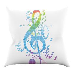 """Kess InHouse - Frederic Levy-Hadida """"Rainbow Key"""" Multicolor Music Throw Pillow (18"""" x 18"""") - Rest among the art you love. Transform your hang out room into a hip gallery, that's also comfortable. With this pillow you can create an environment that reflects your unique style. It's amazing what a throw pillow can do to complete a room. (Kess InHouse is not responsible for pillow fighting that may occur as the result of creative stimulation)."""