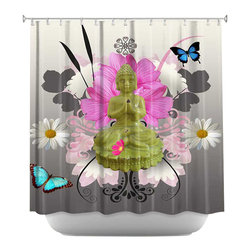 DiaNoche Designs - Shower Curtain Artistic - Motief 3 Buda - DiaNoche Designs works with artists from around the world to bring unique, artistic products to decorate all aspects of your home.  Our designer Shower Curtains will be the talk of every guest to visit your bathroom!  Our Shower Curtains have Sewn reinforced holes for curtain rings, Shower Curtain Rings Not Included.  Dye Sublimation printing adheres the ink to the material for long life and durability. Machine Wash upon arrival for maximum softness. Made in USA.  Shower Curtain Rings Not Included.