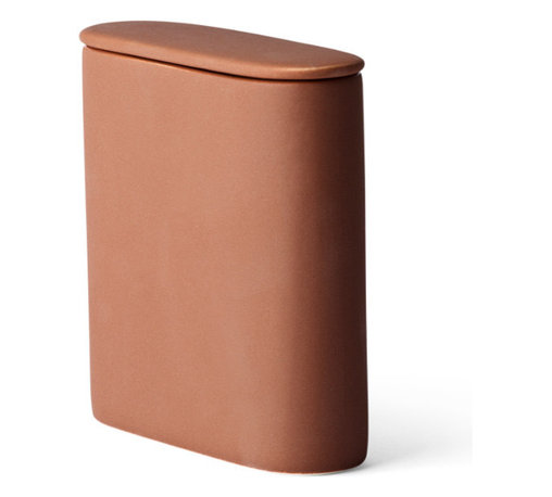 Menu - Afteroom Caddy, Clay - The Afteroom Caddy takes care of your stuff in the kitchen, bathroom or office and the simple, logical shape is a fine contrast to the rough surface and the dark and slightly raw colors. The caddy is made of stoneware and consists of two pieces: a container with lid.