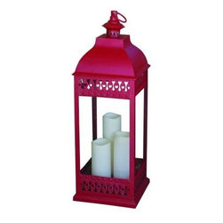 Smart Solar - Smart Solar Outdoor Lighting. San Nicola Triple Red LED Candle Lantern - Shop for Lighting & Fans at The Home Depot. This attractive San Nicola Triple LED Candle Lantern in Red is a battery powered candle lantern that is a must have for any indoor or outdoor area. Made from durable poly, with real glass and a metal hanging loop, so it can sit on any flat surface, or be hung up. There is a 3 way switch to control the light, to turn on and off, or set timer option mode. If you choose the timer option mode, lighting stays on for 6 hours and then turns off for 18 hours, turning on and then off at same times each day. Lantern requires 2 C size alkaline batteries that are not included and must be purchase separately.