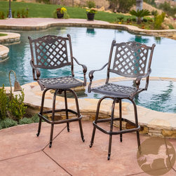 Christopher Knight Home - Christopher Knight Home Avon Cast Aluminum Copper Outdoor Bar Stool (Set of 2) - The Avon bar stools are beautiful additions for your outdoor decor. Made from cast aluminum, these durable and luxurious stools feature intricate details, with a diamond-mesh swivel seat and backrest.