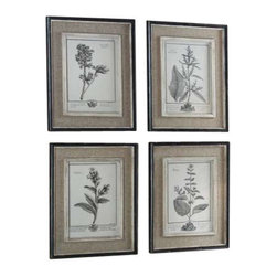 Uttermost Casual Grey Study Framed Art Set/4 - Frames have a heavily distressed black finish with a gray and taupe wash. The inner lips and liners have a medium wood tone base with heavily distressed painted white finish with a gray & taupe glaze. Prints are surrounded by light tan burlap mats. Frames have a heavily distressed black finish with a gray and taupe wash. The inner lips and liners have a medium wood tone base with heavily distressed painted white finish with a gray & taupe glaze.