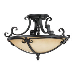 Feiss - King's Table Semi-Flushmount by Feiss - The Murray Feiss King's Table Semi-Flushmount provides warm lighting for the kitchen or living room in a casual form reminiscent of rustic Tuscan design. Romantic, warm lighting eminates from Antique Cream Scavo glass beautifully framed by Black wrought iron. A companion to the King's Table Wall Sconce.Murray Feiss lighting boasts an award-winning team of industrial, graphic and interior designers and engineers that guarantee only the finest materials are used for their products.The Murray Feiss King's Table Semi-Flushmount is available with the following:Details:Antique Cream Scavo glass shadeBlack finishRound ceiling canopyWrought Iron framingUL ListedLighting: Two 100 Watt 120 Volt Medium Base Incandescent lamps (not included).Shipping:This item usually ships within 3-5 business days.