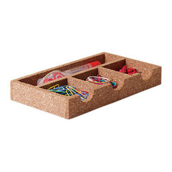 Design Ideas - Anderson Organizer Tray - We like the warmth and softness of cork so much that we've taken it off the wall and formed it into multi-purpose work-space organizers. Pens and paper clips fall silently into place. Of course, it's great for pinning notes, too. Made from naturally regenerating cork tree bark.