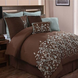 Luxury Home Jardin Embroidered 8-Piece Comforter Set - Chocolate - In French, jardin means garden - and we can't think of a prettier French-inspired garden than the one budding across the Luxury Home Jardin Embroidered 8-Piece Comforter Set - Chocolate. This complete set - available in your choice of size - boasts a delicately embroidered blue-green leaf motif against a smooth chocolate background. Crafted with machine-washable double-brushed microfiber, this set includes a comforter, bedskirt, two shams, two Euro shams, and two coordinating accent pillows.