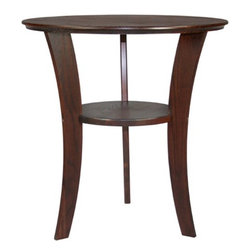Manchester Wood - Contemporary End Table - Features: -Round shape.-Provides a sophisticated look.-Designed to hold a lamp along with storage facility.-Made in USA.-Solid ash construction.-Stain resistant lacquer finish.-Contemporary collection.-Collection: Contemporary.-Distressed: No.-Powder Coated Finish: No.-Gloss Finish: No.-Base Material: Solid wood.-Top Material: Solid wood.-Inlay Material: Solid wood.-Solid Wood Construction: Yes.-Number of Items Included: 1.-Nesting Tables: No.-UV Resistant: No.-Scratch Resistant: Yes.-Stain Resistant: Yes.-Exterior Shelves: Yes -Number of Exterior Shelves: 1.-Adjustable Exterior Shelves: No..-Cabinets Included: No.-Glass Component: No.-Legs Included: Yes -Leg Type: Elegant curved legs..-Casters: No.-Lighted: No.-Reclaimed Wood: No.-Adjustable Height: No.-Outdoor Use: No.-Swatch Available: Yes.-Commercial Use: Yes.-Recycled Content: No.-Eco-Friendly: Yes.-Product Care: Dust as needed with soft cloth. Clean with damp cloth and mild solution of dish soap. Polish with soft cloth and polish that contains no pigment or silicone.-Country of Manufacture: United States.-Built In Outlets: No.-Powered: No.Specifications: -FSC Certified: No.-EPP Compliant: No.-ISTA 3A Certified: No.-ISTA 1A Certified: No.-General Conformity Certificate: No.-Green Guard Certified: No.-ISO 9000 Certified: No.-ISO 14000 Certified: No.-UL Listed: No.Dimensions: -Overall Height - Top to Bottom: 23.-Overall Width - Side to Side: 22.-Overall Depth - Front to Back: 22.-Table Top Thickness: .75.-Table Top Width - Side to Side: 22.-Overall Product Weight: 15.-Shelving: -Shelf Height - Top to Bottom: 9.-Shelf Width - Side to Side: 12.-Shelf Depth - Front to Back: 12..-Legs: -Leg Height - Top to Bottom: 22.25.-Leg Width - Side to Side: 0.75.-Leg Depth - Front to Back: 2.5..-Table Top Depth - Front to Back: 22.Assembly: -Assembly Required: Yes.-Tools Needed: Screwdriver, hammer.-Additional Parts Required: No.Warranty: -Product Warranty: Free of manfacturing defects