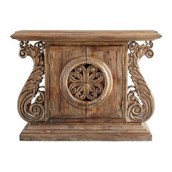 Rustic Wood Ornate Cabinet Console Table - *Dwyer Console Table