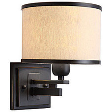 North Miami 1-light Black/ Beige Wall Sconce | Overstock.com