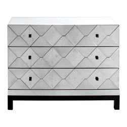 "Brownstone Furniture - Carlyle 3 drawer dresser - 45w x 19""dx35""H-Antiqued mirrored in geometric in a European classic design"