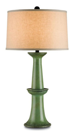 Currey and Company - Currey and Company Windowbox Table Lamp in Antique Green - Windowbox Table Lamp in Antique Green by Currey and Company.