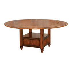 Lifestyle California - Tuscany Round Storage Dining Table w Expandable Top - Chairs not included. 18 in. round butterfly leaf. Made from Hackberry solids and Oak Veneers. Rustic Tuscany finish. Leaves need to be removed to make the table smaller. Assembly required. With Leaves: 72 in. Diameter x 30 in. H. Without Leaves: 54 in. Diameter x 30 in. H. Table Top Weight: 173 lbs.. Table Base Weight: 73 lbs.Tuscan country side sophistication brings the warmth of family gathering.