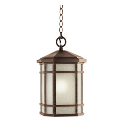 KICHLER - KICHLER Cameron Arts and Crafts/Mission Outdoor Hanging Light X-RP1159 - A stylish blend of mission and traditional influencing gives an updated look to this Kichler Lighting outdoor hanging light. From the Cameron Collection, it features an elegant white etched linen glass shade that accentuates the warm tones of the Prairie Rock finish.
