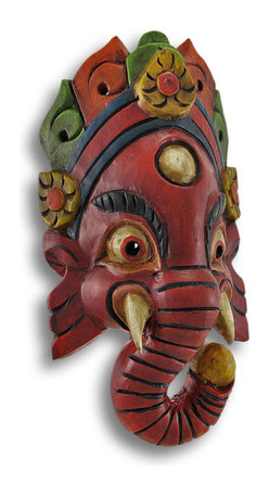 Zeckos - Hand Crafted Wooden Ganesha Mask Wall Decor - Ganesha, the son of Shiva and Parvati, is the God governing the life-force and the earth-mother. Ganesha is a widely worshiped Hindu deity, and often revered as the remover of obstacles, the patron of arts and sciences, and the Deva of intellect and wisdom. Ganesha's trunk symbolizes the fact that a wise person has both immense strength, and fine discrimination. This wooden, wonderfully crafted mask is hand-made and hand-painted in Nepal. It measures 11 1/2 inches high, 6 inches wide and 3 1/2 inches deep. It easily hangs on the wall using a single nail or screw via the attached hangar on the back. A wonderful and colorful addition to any room, and a great housewarming gift for both friends and family.