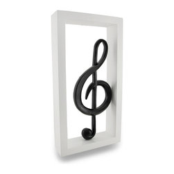 Zeckos - Black and White Framed Treble Clef Musical Symbol Wall Hanging - If you love music, then this classic looking white framed black treble clef symbol shadow box style sculpture will find its way to your wall or shelf It's a wonderful addition to the home, office or business of music players, writers or those that just prefer to listen It's crafted from wood, and hand painted giving it a smooth finish, and measures 13.25 inches (34 cm) high, 7 inches (18 cm) wide, and 2 inches (5 cm) deep. It easily mounts to the wall with a single nail or screw using the keyhole hanger attached on the back, and it's also free-standing to display on a shelf, table or counter surface, too This musically inspired treble clef wall hanging gives an otherwise boring, empty wall new life worthy of attention