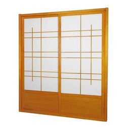 Oriental Furniture - 7 ft. Tall Eudes Shoji Sliding Door Kit (Double - Sided) - Honey - This fantastic Eudes Shoji Sliding Door Kit comes with two sliding doors, top and bottom tracks, and right and left door jambs. Its wonderful modern design has an art deco feel with large geometric lattice work.