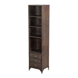 Reclaimed Iron Storage Cabinet - Stunning in its simplicity and usefulness, this reclaimed iron storage cabinet is big on rustic charm and keeps you organized in functional style with its three drawers and three adjustable shelves. From the bathroom to living room to bedroom, its usefulness goes to work for you no matter the decor.