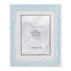 Lawrence Frames - 5x7 Silver Metal Picture Frame with Pastel Swirled Blue Enamel and Bead Border - Classic silver metal frame with a swirled inlay of pastel blue enamel.   Enamel is bordered by a delicate beading both on the outside and inside edges.  Beautiful black velvet backing with an easel for vertical or horizontal table top display.  High quality 5x7 metal picture frame is made with exceptional workmanship and comes individually boxed.