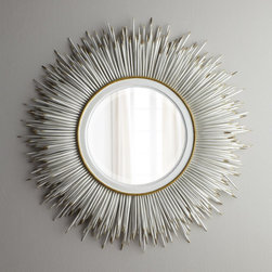 "Janice Minor - White ""Porcupine Quill"" Mirror - WHITE - Janice MinorWhite ""Porcupine Quill"" MirrorDetailsExclusively ours. This popular mirror gets a fresh new look with a distressed white finish.Handcrafted of wood and wrought iron.Beveled mirror.33""Dia. x 5""D.Imported.Boxed weight approximately 35.8 lbs. Please note that this item may require additional delivery and processing charges.Designer About Janice Minor:Introduced in 1986 the Janice Minor collection soon established itself as a fashionable name in furniture and home accessories. Designer Janice Minor draws inspiration from her travels and fans love the designer's chandeliers which run from exotic to classics with a twist along with her mixed-media epergnes among many other stylish tabletop options."