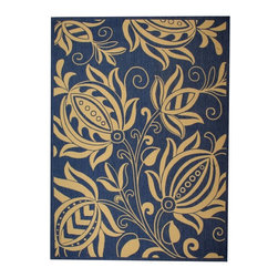 "Safavieh - Courtyard Blue/Brown Area Rug CY2961-3103 - 2'7"" x 5' - Safavieh takes classic beauty outside of the home with the launch of their Courtyard Collection. Made in Belgium with enhanced polypropylene for extra durability, these rugs are suitable for anywhere inside or outside of the house. To achieve more intricate and elaborate details in the designs, Safavieh used a specially-developed sisal weave."