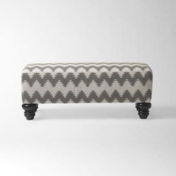 Essex Printed Bench, Kenmare Iron - It's easy to add pattern to your entryway with this printed bench. Wouldn't it be nice to have a soft seat to use while pulling off those boots after a long day?