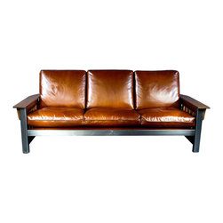 "American FABHOUSE - Craftsman Style Sofa - A timeless classic transported to a contemporary showpiece, the clubby Craftsman Style Sofa has a rustic yet urban appeal. Black oxide and a clear satin top coat enhance steel components, with hand-rubbed hardwood armrests. Its 92"" width contains three distinct cushions in luxurious walnut buffalo leather, creating a durable, inviting focal point for your family room."