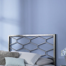 "FBG - Camden Metal Headboard - The Camden Headboard offers a clean, sharp, unique look that quickly updates and changes your space. With square metal rails and posts and a fresh geometric design, the Camden headboard complements your contemporary decor with high-class style. The Camden headboard is finished in a silvery base with gold-toned, hand applied sponging which creates a richly aged finish that complements its graceful lines. Features: -Accommodate any bedroom.-Golden Frost finish.-Camden collection.-Gloss Finish: Yes.-Upholstered: No.-Powder Coated Finish: No.-Hardware Material: Metal.-Non Toxic: Yes.-Scratch Resistant: No.-Adjustable Height: No.-Lighting Included: No.-Wall Mounted: No.-Reversible: No.-Hardware Finish: Golden Frost.-Finished Back: Yes.-Distressed: No.-Hidden Storage: No.-Freestanding: No.-Frame Required: Yes.-Frame Included: No.-Drill Holes for Frame: Yes.-Swatch Available: No.-Eco-Friendly: No.-Product Care: Wipe with a clean, damp cloth.-Recycled Content: No.Specifications: -EPP Compliant: No.-CPSIA or CPSC Compliant: Yes.-ASTM Certified: No.-ISTA 3A Certified: Yes.-General Conformity Certificate: Yes.-Green Guard Certified: No.Dimensions: -Overall Height - Top to Bottom (Size: Full): 52"".-Overall Height - Top to Bottom (Size: Queen): 52"".-Overall Height - Top to Bottom (Size: King): 52"".-Overall Depth - Front to Back (Size: Full): 1.5"".-Overall Depth - Front to Back (Size: Queen): 1.5"".-Overall Depth - Front to Back (Size: King): 1.5"".-Overall Product Weight (Size: Queen): 26 lbs.-Overall Product Weight (Size: King): 32 lbs.-Overall Product Weight (Size: Full): 24 lbs.-Top of Headboard to Bed Frame: 28"".-Bottom of Headboard to Floor: 24"".Assembly: -Assembly Required: No.-Additional Parts Required: No.Warranty: -Product Warranty: 10 Years."