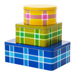 TRIPP Storage Tin with Lid, Set of 3 - Love these storage tins in a fresh check pattern. They would be great to store dry food and add a punch of color to your pantry.