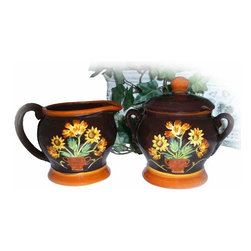 None - Handpainted English Sunflower Sugar & Creamer Set - Add this hand-painted sugar and creamer set to your dining room or entertaining area for its classic look that offers both function and elegance. The microwave- and dishwasher-safe set features a beautiful sunflower design sure to impress guests.