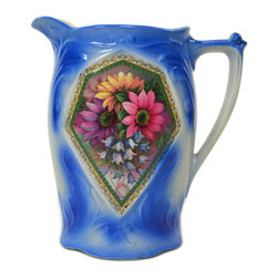 Lavish Shoestring - Consigned Blue Pottery Floral Jug, Antique English, Early 1900s - This is a vintage one-of-a-kind item.