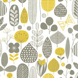 "Loboloup - Meadow, Maize & Smokey Gray, Sample - Loboloup wallpaper is hand-screened locally in the USA, and printed with eco-friendly, water-based inks on clay-coated paper. Our paper is vinyl-free and class A fire rated. Samples are approximately 9"" x 11"". Once hung, wallpaper can be gently wiped clean."