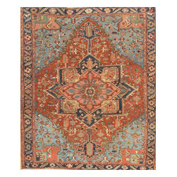 Pasargad - Antique Persian Heriz Rug Circa: 1920 - Antique Persian Heriz with grand medallion and elaborate border handwoven of durable sheep's wool, Beautiful rust color background with Light Blue corners makes this rug focal point in any d̩cor