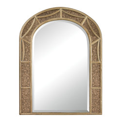 Sterling Industries - Arch Mirror With Antique Glass Surround. - A beautiful Arch mirror with a wonderful pattern on the frame.  This gorgeous arch mirror has a bevel along the whole mirror.  It has a painted marble looking mirror with an antiqued brass frame surrounding it.  A perfect mirror to emulate that window that was never there.