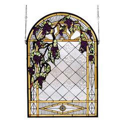 Meyda - 24 Inch W x 36 Inch H Grape Diamond Trellis Windows - Color theme: Zasdy Purple HA 59