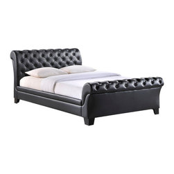 Modway Furniture - Modway Kate Queen Bed Frame in Black - Queen Bed Frame in Black belongs to Kate Collection by Modway Graceful sophistication flows from this traditionally styled tufted sleigh bed. Kate's deep button tufting on the generous padding adds depth to the flowing lines of this ambitious piece. Faux leather blends with the unique look for a polished appeal that introduces a touch of timeless elegance to your bedroom. The soft padded design of the Kate bed provides all around comfort meshed with decorative appeal. Four short black wooden legs add the perfect measure of height to finish off this innovative new classic. Set Includes: One - Kate Footboard One - Kate Headboard One - Kate Siderail Bed Frame (1)