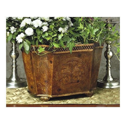 Dessau Home - Burlwood Planter - Candle holders not included. Bun feet. Made from iron. 15 in. L x 11 in. W x 10 in. H