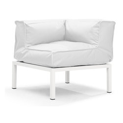 Zuo Modern - Copacabana Corner White - The Copacabana collection is designed for funky versatility. This set has modular pieces of an armless chair, a corner armchair, an ottoman, and a table. The cover is made from a completely waterproof and UV resistant polyester fiber. The frame is made from an epoxy coated aluminum. The fill is 100% pure polystyrene beads. All the cushions can be attached via durable oversize zipper. Have fun with the cushions and throw them in the pool...they will float!