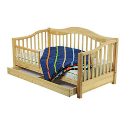 "Dream On Me - Toddler Day Bed - This handsomely designed, solid wood toddler bed has the security of a safety rail to prevent accidental falls while sleeping. It features a roomy storage drawer underneath the bed and wooden mattress support so there is no need for a box spring. This bed accommodates a Dream On Me crib mattress, sold separately. Recommended for children 18 months to 5 years old, up to 45 lbs. All tools for easy assembly included. Features: -Material: Solid wood.-Looks like a day bed.-Low to the floor for ease of getting in and out of bed.-Non-toxic.-Sturdy construction.-Distressed: No.-Powder Coated Finish: No.-Gloss Finish: No.-Frame Material: Solid pine wood.-Hardware Material: Metal hinges.-Scratch Resistant: No.-Recommended Mattress Height: 4"".-Mattress Profile Maximum: 4"".-Mattress Profile Minimum: 2"".-Slats Required: Yes.-Number of Slats Required: 6.-Slat System Included: Yes.-Number of Slats Included: 6.-Center Support Legs: No.-Recommended Age Range: 18 months - 7 years.-Also Suitable for Adults: No.-Weight Capacity: 45 lbs.-Eco-Friendly: Yes.Specifications: -CPSIA or CPSC Compliant: Yes.-CARB Compliant: Yes.-JPMA Certified: No.-ASTM Certified: Yes.-ISTA 3A Certified: Yes.-General Conformity Certificate: Yes.-Green Guard Certified : No.Dimensions: -Overall Height - Top to Bottom: 28.5"".-Overall Width - Side to Side: 30"".-Overall Depth - Front to Back: 54.5"".-Headboard Height Top to Bottom: 25"".-Headboard Width Side to Side: 30"".-Footboard Height: 28"".-Footboard Width - Side to Side: 30"".-Interior Drawer Height Top to Bottom: 2"".-Interior Drawer Width Side to Side: 4"".-Interior Drawer Depth Front to Back: 25"".-Overall Product Weight: 40 lbs."