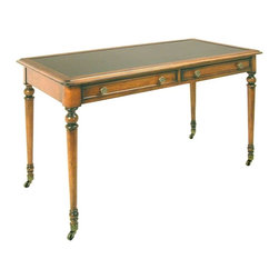 Anston Cherry Writing Desk with Brass Castors - Elegant and classic cherry desk with two large drawers.  Desk top is black. This classic piece has a beautiful cherry finish with distressing and elegant bass castors and accents. Charlotte and Ivy loves this traditional look with a fabulous lamp