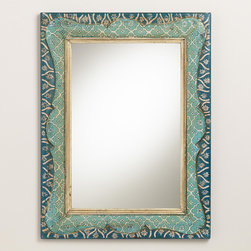 Hand-Painted Raya Scalloped Mirror - Smaller mirrors can have impact when they have the right design. This hand-painted beauty has a worldly flair, and the brilliant jewel tones are just the right touch.