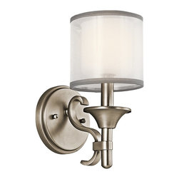 KICHLER - KICHLER 45281AP Lacey Transitional Wall Sconce - This 1 light wall sconce from the Lacey Collection offers a beautiful contrast, melding the charm of Olde World style with clean modern-day materials. It starts with our Antique Pewter Finish and bold, unadorned rounded-arm styling. It finishes with avant-garde double shades made of decorative mesh screens and Opal inner glass.