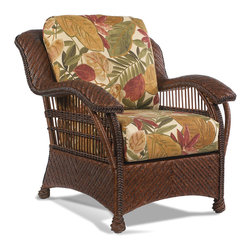 Casablanca Wicker Rattan Chair - 34w-36d-36h. This wicker rattan chair is made of Premium quality herringbone woven wicker on a sturdy rattan and wood frame. Features bottom and back cushions in your choice of fabric with comfort decking.