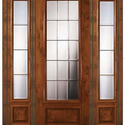 Prehung french side lights door 96 wood alder french 3 4 for Triple french doors exterior