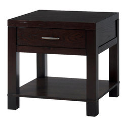 Jofran - Jofran Vienna Square End Table with Drawer and Shelf in Espresso - Solid Asian hardwood and oak veneer over Engineered Wood. All Pieces are fully assembled Except end table.