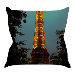 """Kess InHouse - Ann Barnes """"Tour Eiffel"""" Blue Gold Throw Pillow (18"""" x 18"""") - Rest among the art you love. Transform your hang out room into a hip gallery, that's also comfortable. With this pillow you can create an environment that reflects your unique style. It's amazing what a throw pillow can do to complete a room. (Kess InHouse is not responsible for pillow fighting that may occur as the result of creative stimulation)."""