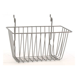 Basket, Powder Coat Chrome - Use a pegboard to hang these wire baskets for room-temperature fruits and vegetables.
