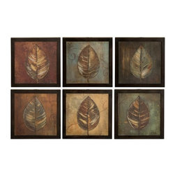 Uttermost - Uttermost 50890 New Leaf Panel Set of 6 Semi-Abstract Leaf Prints - Uttermost 50890 Grace Feyock New Leaf Panel I Ii Set of 6 Wall ArtThese oil reproductions feature a hand applied brushstroke finish. Frames have a medium brown undertone with heavy black distressing. Each print is 14x14.Features: