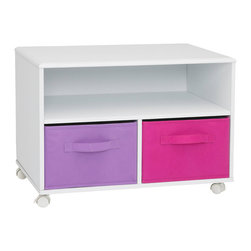 """4D Concepts - 4D Concepts Girl's TV Cart in White - This uniquely styled TV cart is great for any room in the home. The vacuumed formed top with gently rolled edges give the cart that added touch of style. The unit is accented with foldable navy and light blue canvas drawers (Drw 12.5""""w x 17""""d x 8.75""""h) that are great storage of games, play stations, and all of your gaming needs. All drawers rest gently on the shelf and have canvas handles on both sides of the drawer for pulling out of the unit, or pulling completely out and taking with you to another room in the house. The large opening beneath the TV shelf is great for gaming systems, DVD players, etc. The dual hooded casters makes it easy to move from room. Constructed of metal and composite wood with durable PVC laminate. Holds most 27"""" TV's. Clean with a dry non abrasive cloth. Assembly is required."""
